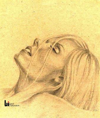 portrait de femme (blonde) super par illustrateur et artiste Igor Lukyanov (dessin hachures croisées)