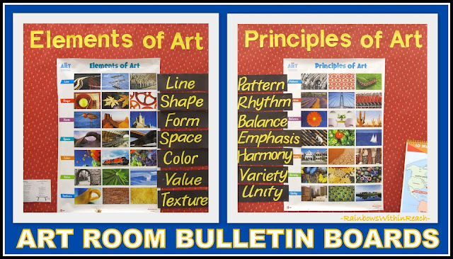 photo of: Art Room Bulletin Boards on Elements and Principles of Art via RainbowsWithinReach