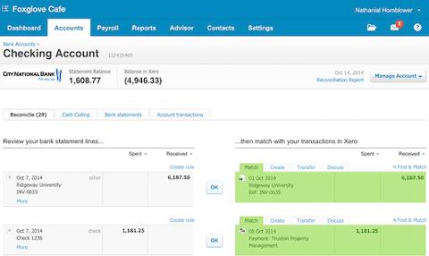 Gestion de compte bancaire avec Xero