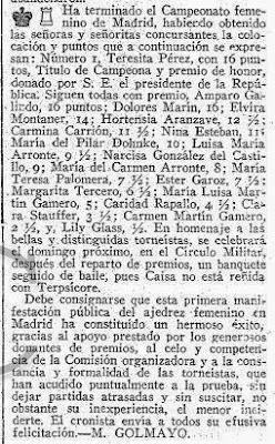 Nota de Manuel Golmayo en ABC sobre el I Torneo Femenino de Ajedrez Madrid 1934