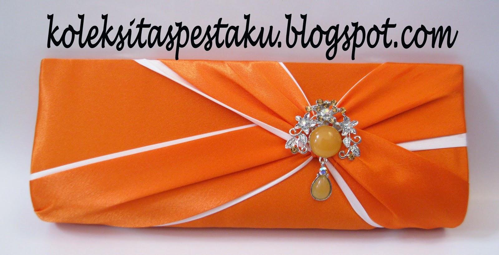 Dompet Tas Pesta Mewah Orange dan Putih Bross Cantik