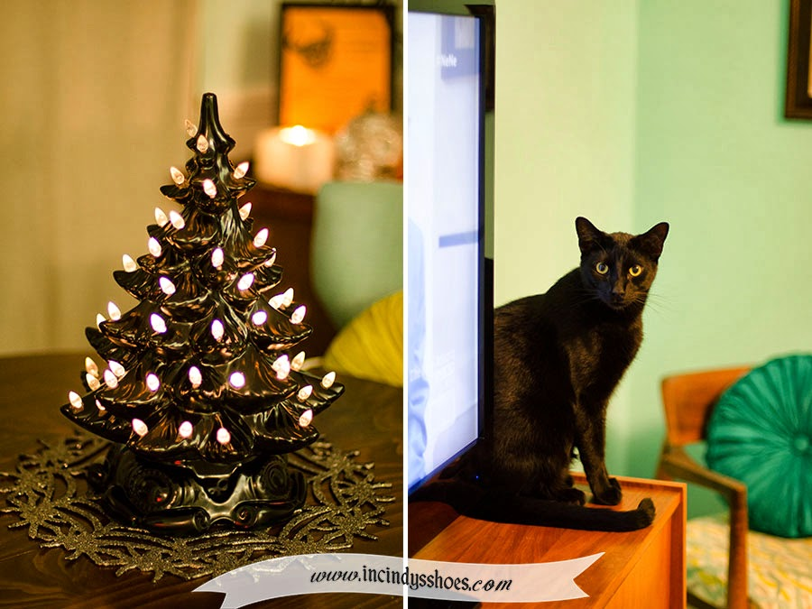 and here it is finished in black gloss with white clear lights gorgeous - Black Cat Christmas Tree