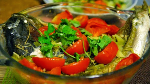 Mustard Parsley Coated Steamed Trout