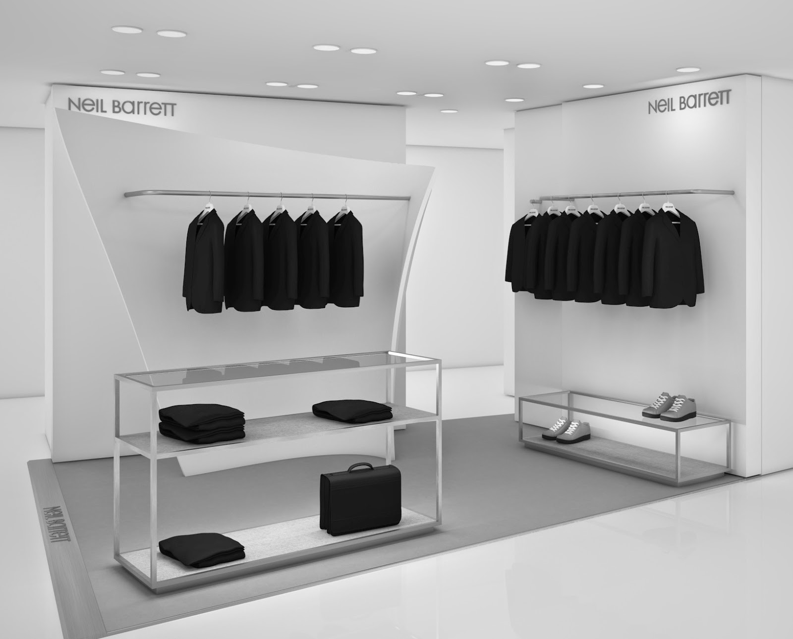 Neil Barrett shop-in-shop at Harvey Nichols London, designed by Zaha Hadid