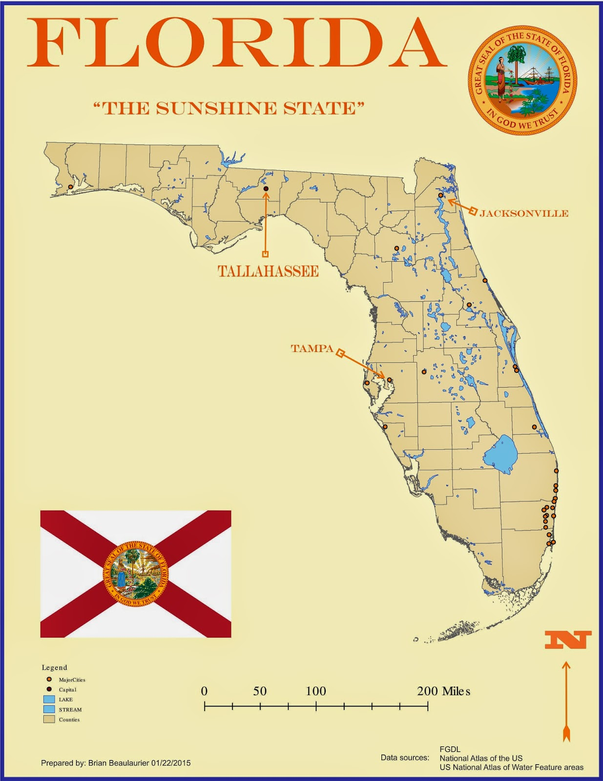 for this weeks lab i needed to make a map of florida with the imaginary goal of having it published in a children s encyclopedia