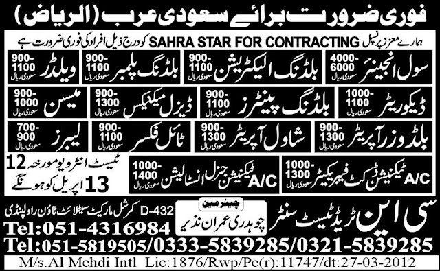Jobs in Sahra Star for Contracting, Riyadh, Saudi Arabia