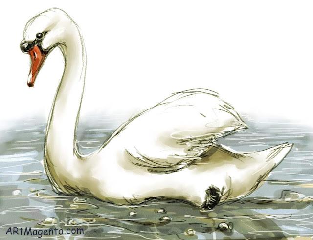 Knölsvan är en fågelmålning av Artmagenta.