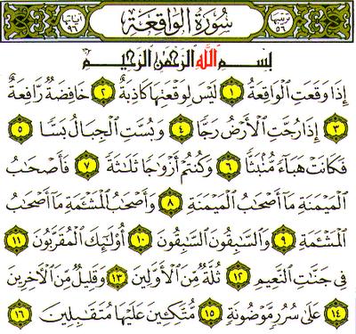 Khasiat Surat Al - Waqiah