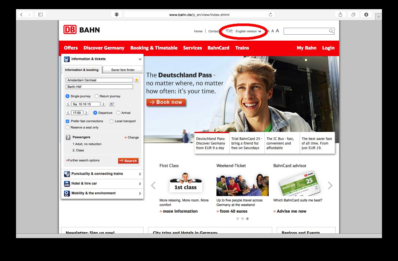 Tampilan web bahn.de