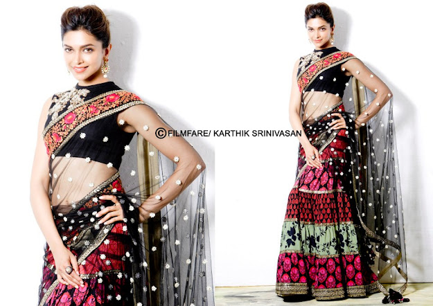 Depika Padukone Navel show in black saree - South Filmfare Awards Winners Hot Photoshoot