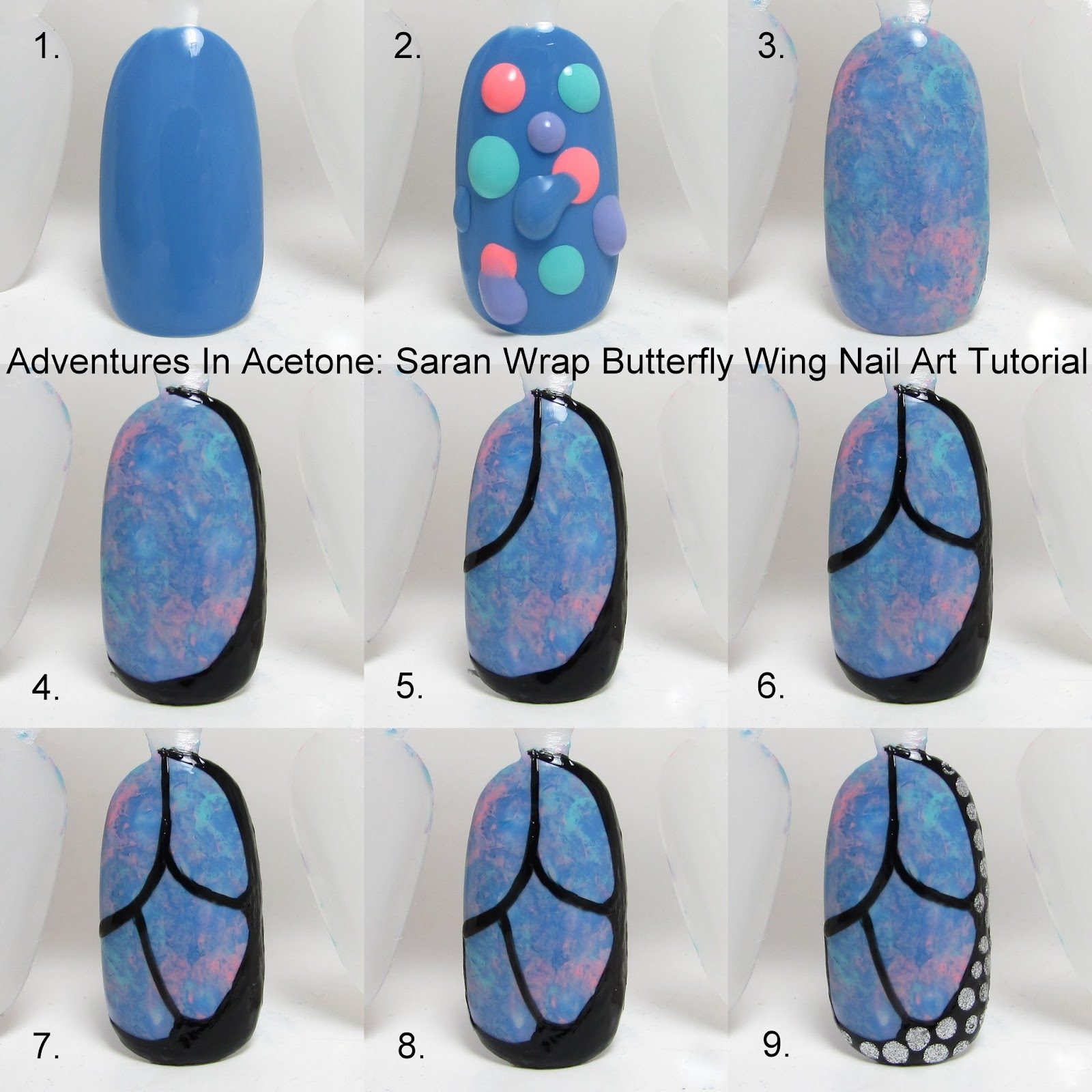 Tutorial Tuesday: Butterfly Wing Saran Wrap Nail Art
