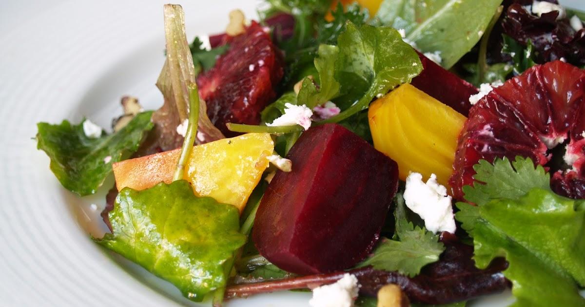 Persimmon and Peach: Beet & Blood Orange Salad with Chevre