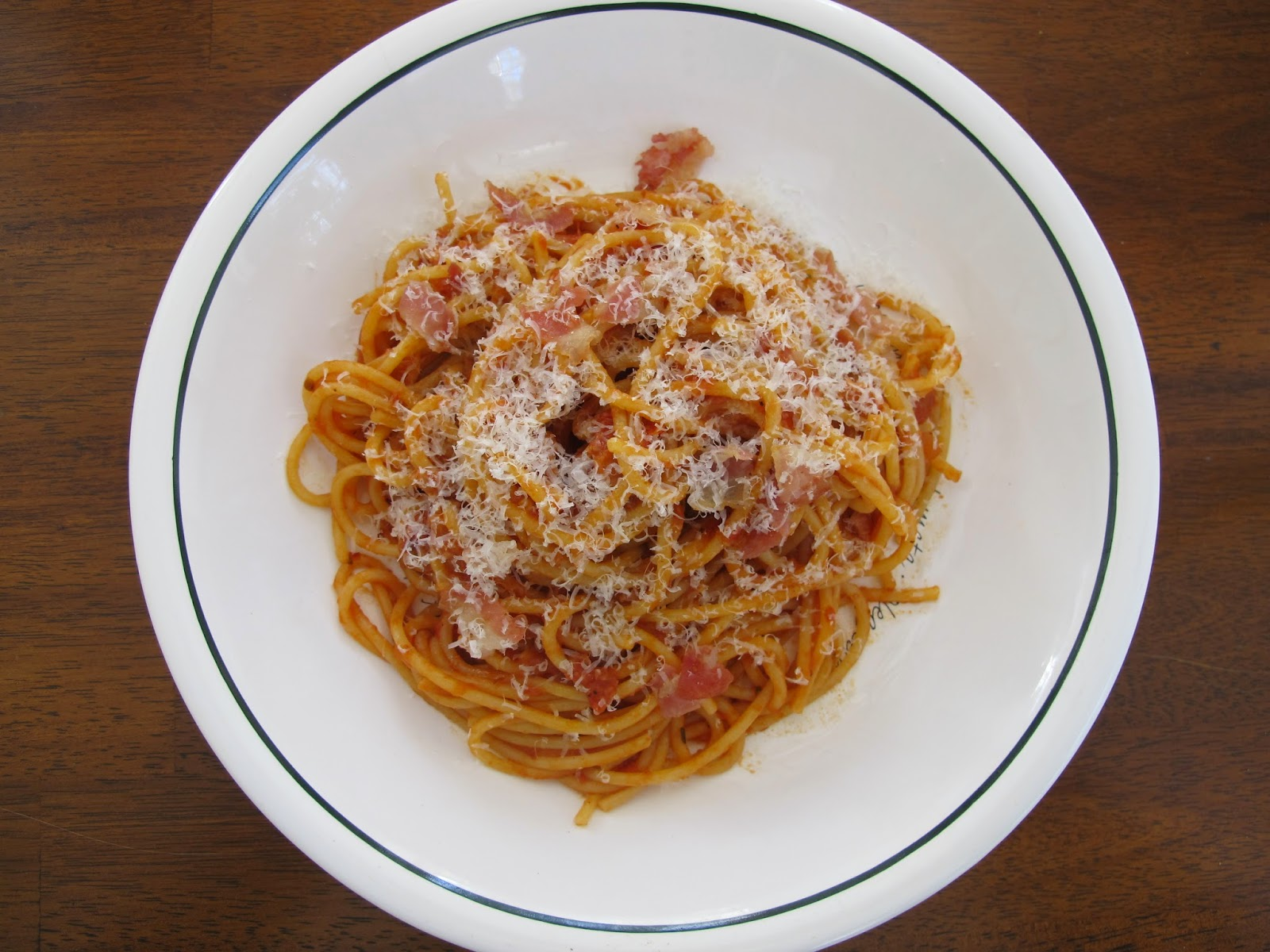 Bucatini with Tomato, Guanciale, and Chile
