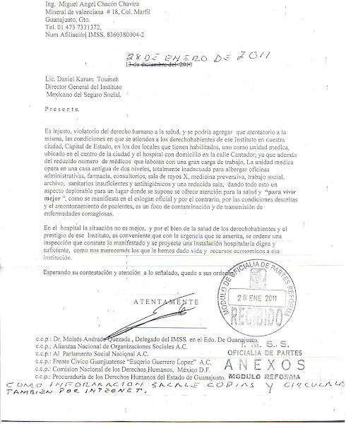 Situación del IMSS guanajuato, Carta a director por parte del Ing. Miguel Ángel Chacón