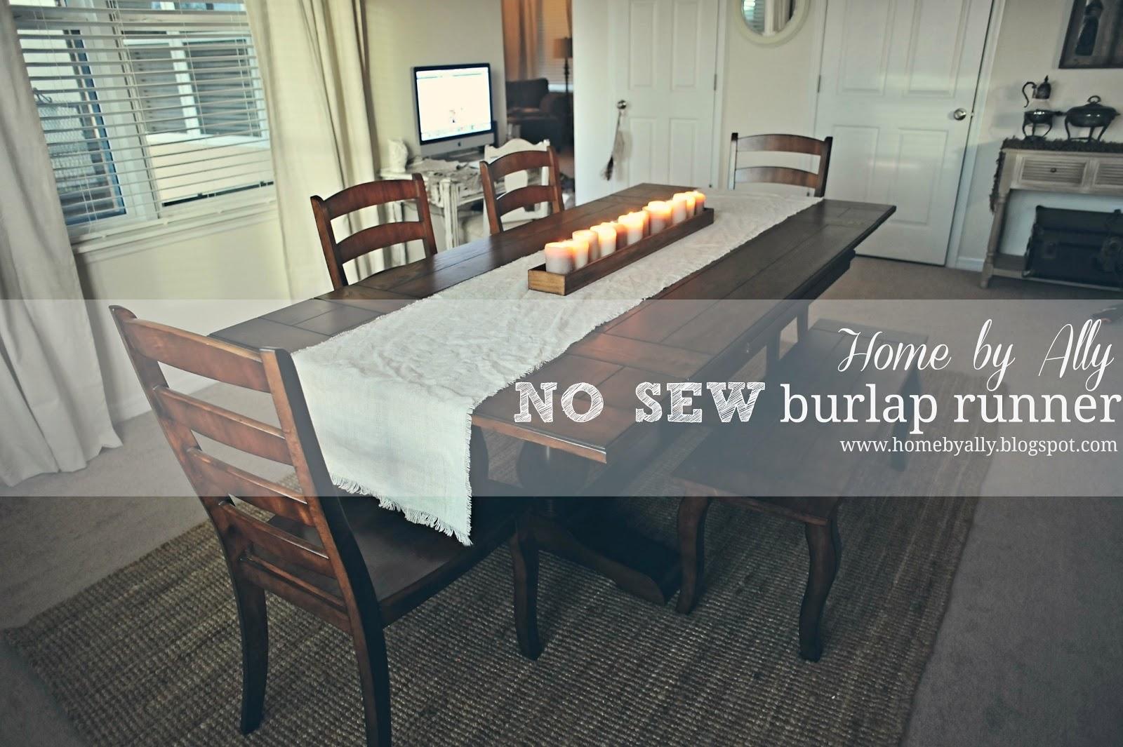 DIY No Sew Burlap Table Runner