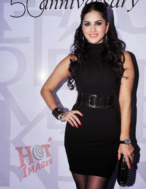 Sunny Leone in black dress
