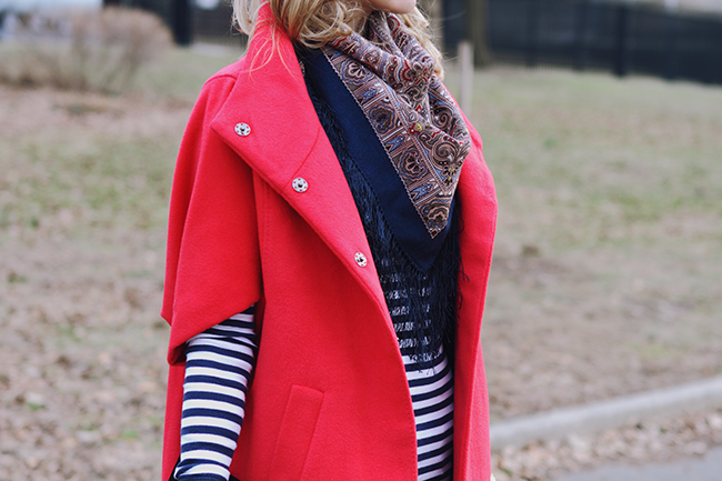"""Red, Stripes, Flares and Other All-Time Favorites"" Outfit Post on ""The Wind of Inspiration"" Blog #twoi #twoistyle #style #fashion #personalstyle #fashionblog #fashionblogger #ootd #outfit #coats #flarejeans #red #stripes"