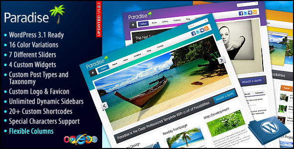 Paradise Wordpress Theme Free Download by ThemeForest.