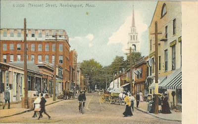 Pleasant Street, Newburyport, MA postcard view