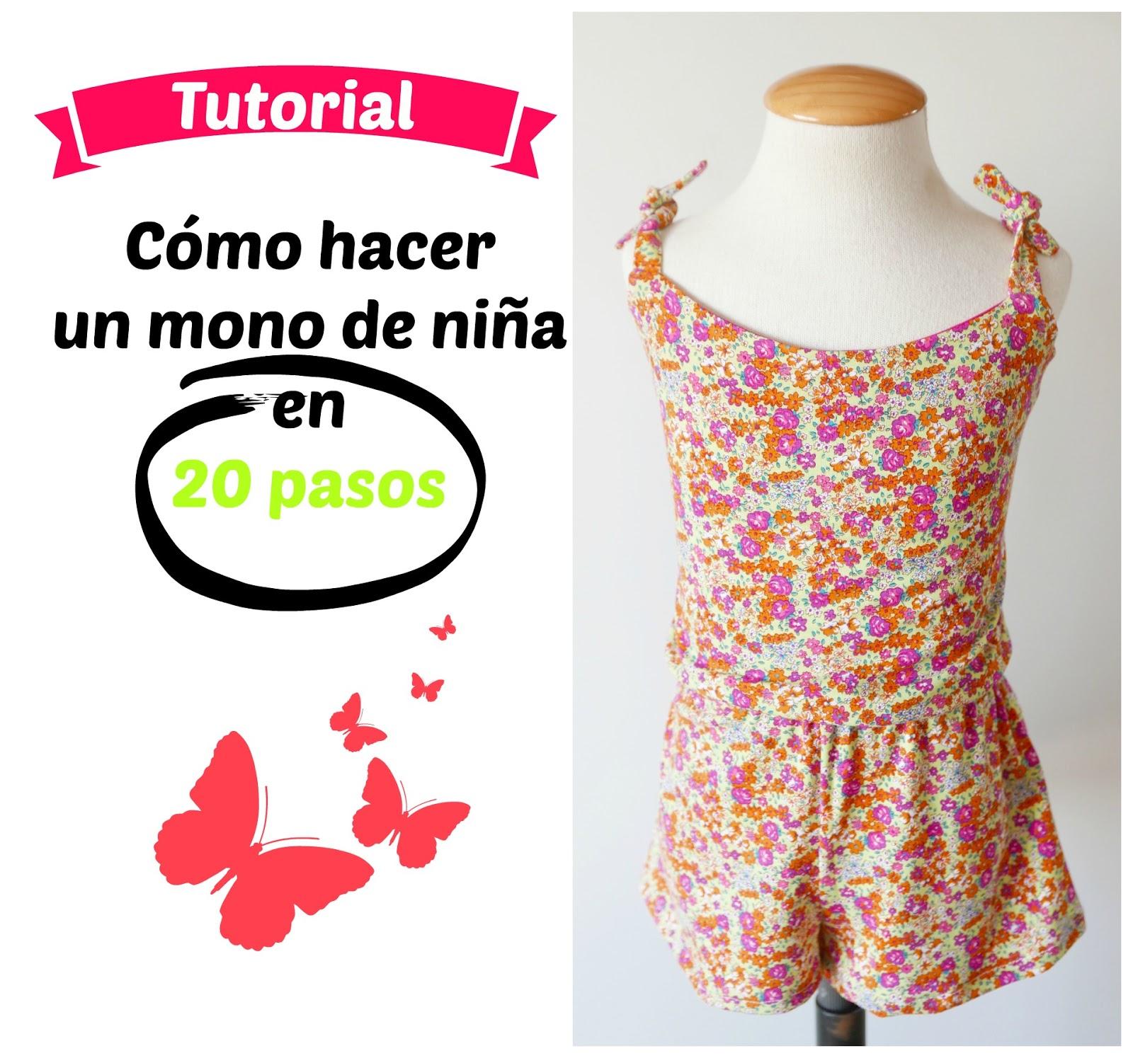 20 pasos y patrón PDF para coser un mono de niña ~ Colours for Baby