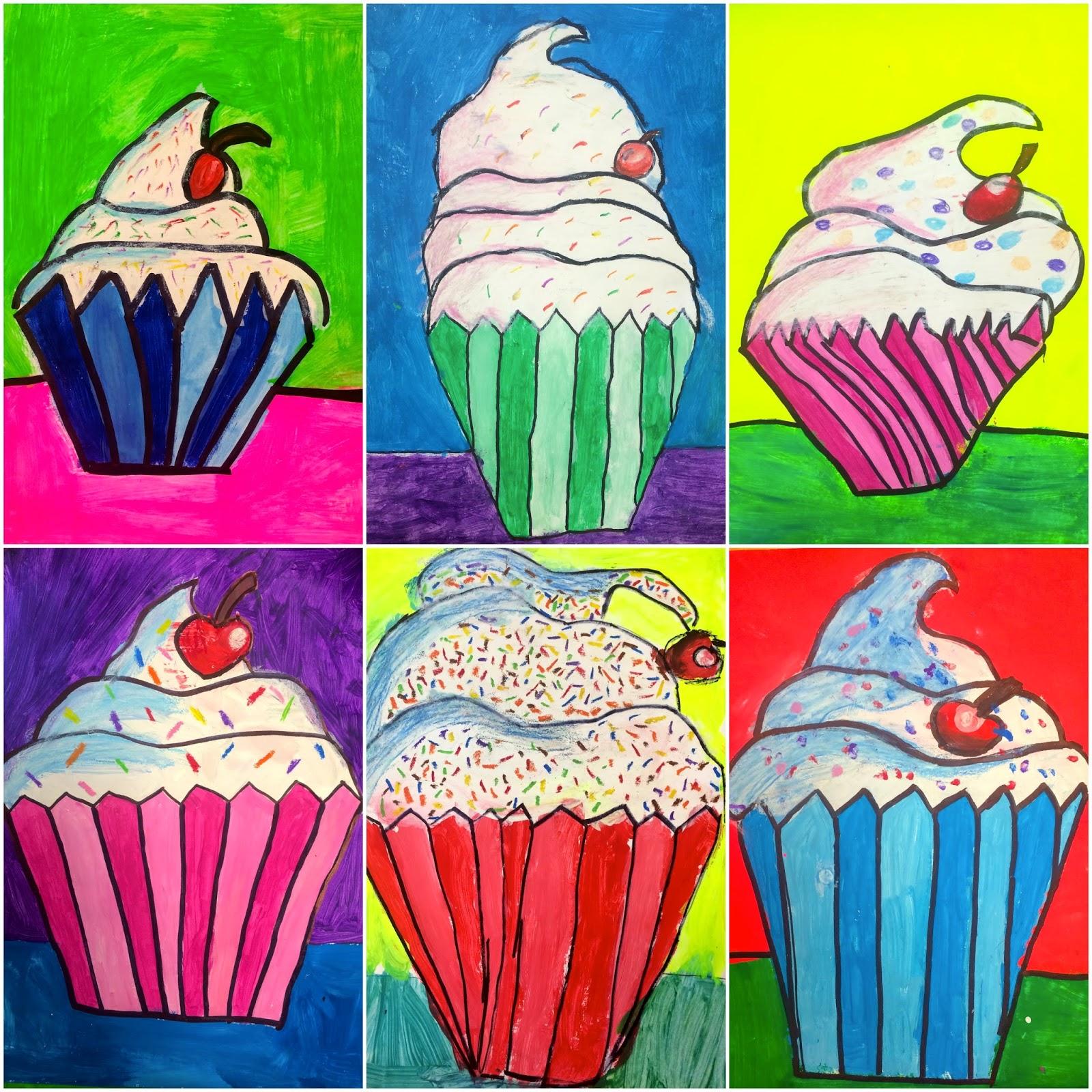 Cake Art School : Art. Eat. Tie Dye. Repeat.: 4th Grade Wayne Thiebaud Cupcakes