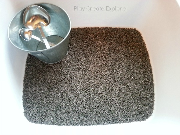 Gray Colored Rice Sensory Bin