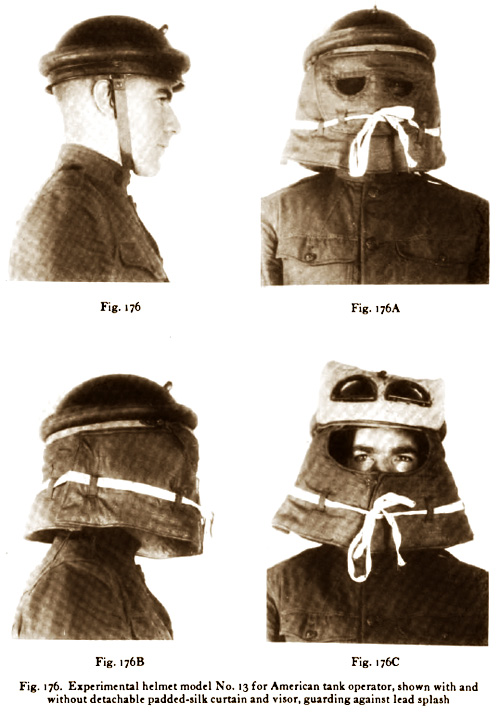 Experimental helmet model No. 13 for American tank operator, shown with and without detachable padded-silk curtain and visor; guarding against lead splash