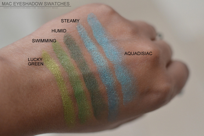 MAC Cosmetics Makeup Eyeshadows Swatches Lucky Green Swimming Humid Steamy Aquadisiac Indian Beauty Blog Darker Skin NC45