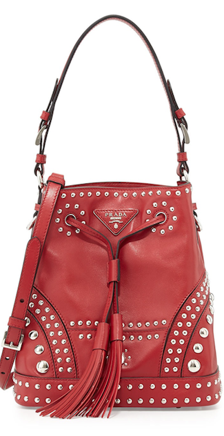 RED studded Prada bucket bag