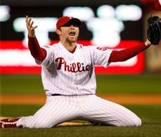 Brad Lidge celebrates the final out of the 2008 World Series between the Philadelphia Phillies and Tampa Bay Rays.