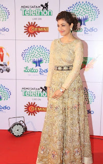 Actress Kajal Aggarwal Pictures in Designer Evening Dress at Memu Saitam Dinner with Stars Red Carpet 38)