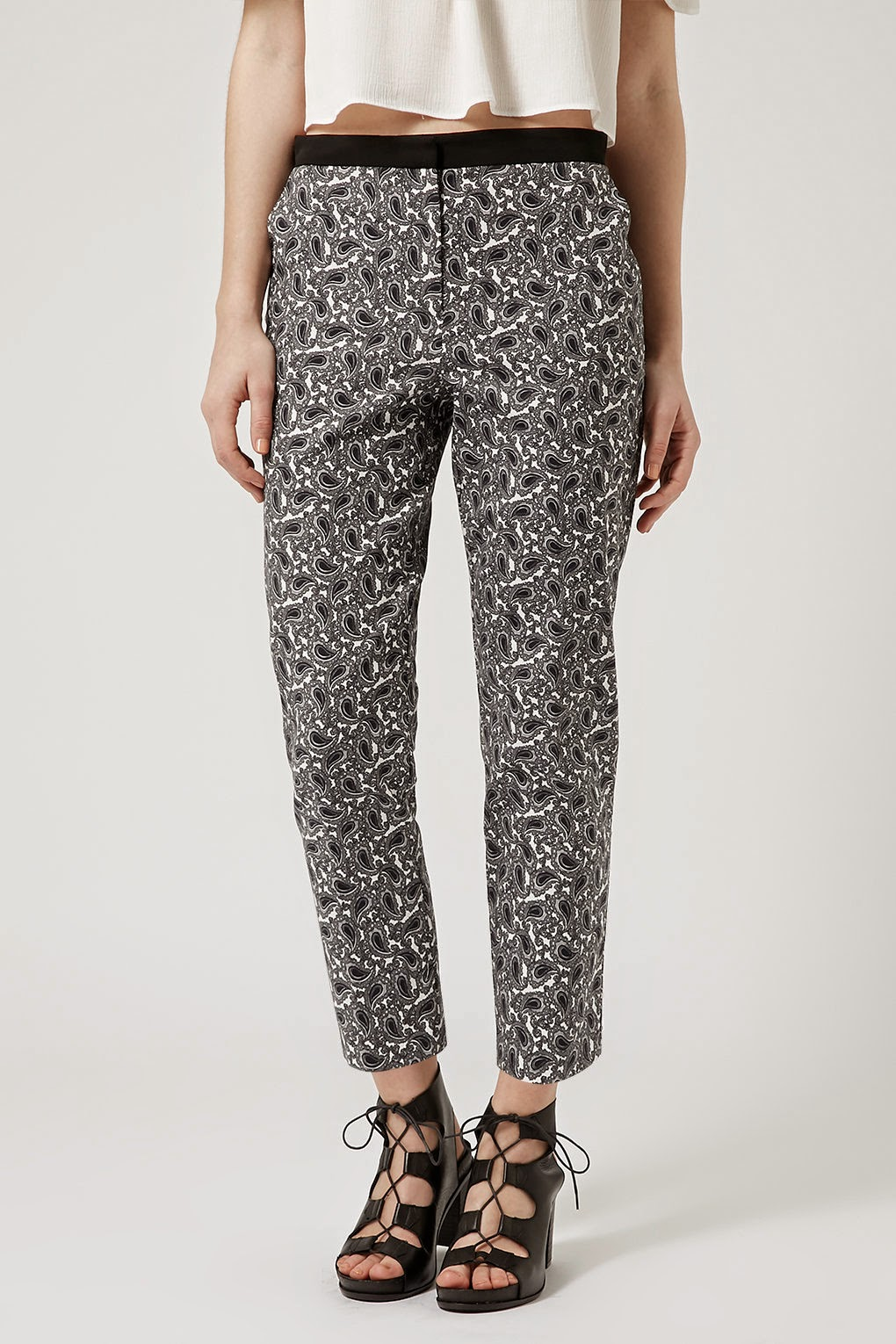 black white paisley trousers