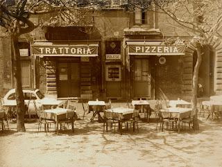 Vintage black and white photo of the front of Trattoria Polese.