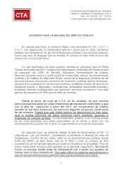 VALORACIÓN DE CTA SOBRE EL ACUERDO PARA LA MEJORA DEL EMPLEO PÚBLICO