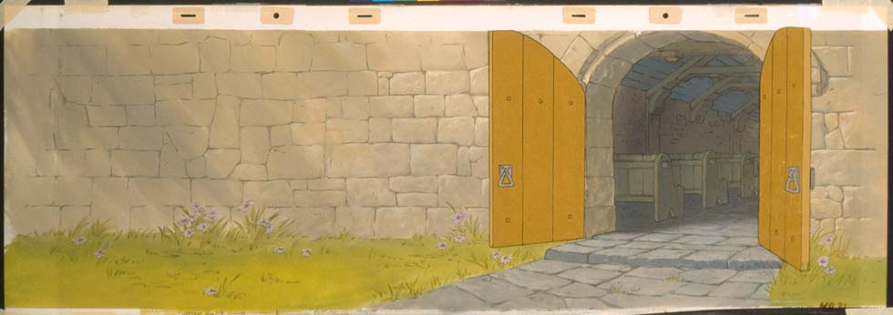 Consists of cels of (1) Robin and Marian (2) church doors (3) detail edging of rocks on a watercolor pan master background. A great piece. & Cowan Collection: Animation and Comic Art: