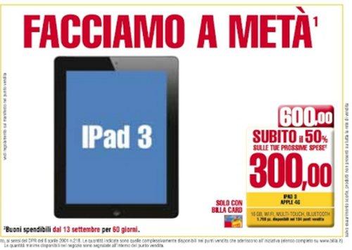 Promozione Facciamo a metà di Billa su Nuovo iPad a 300 euro