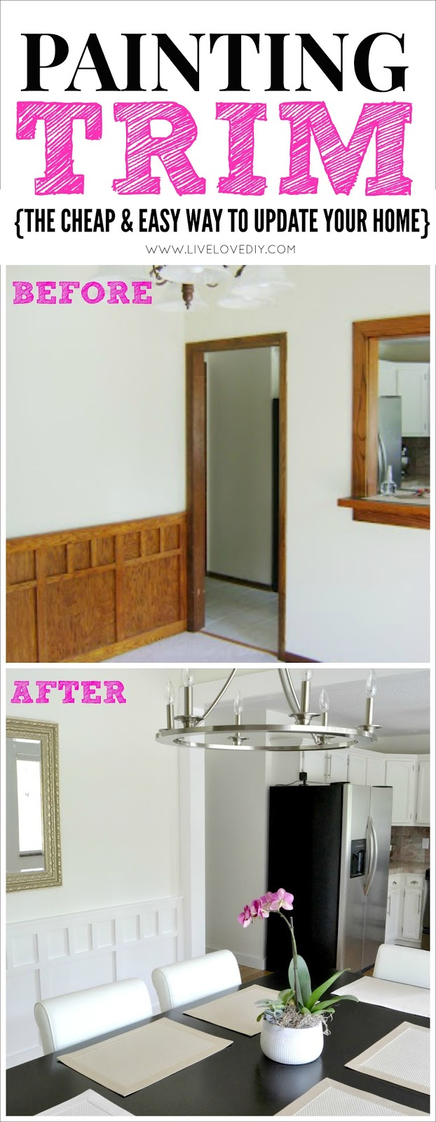 How To Paint Trim: the cheap and easy way to update your home! You wont believe these before and afters. Click through for more info.