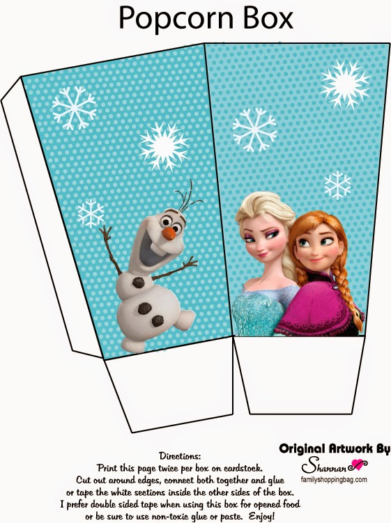 Frozen: Caja de Palomitas para Imprimir Gratis.