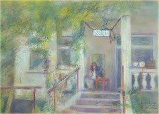 obraz namalowany pastelami, przedstawiający kawiarenkę w Brwinowie