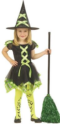 Hekse kostume i grønt og sort