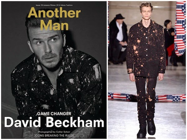 David Beckham wears Raf Simons Sterling Ruby Fall Winter 2014 paint splatter shirt for AnOther Man Magazine