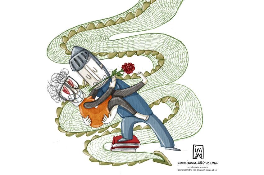 Vinyeta de Sant Jordi pel còmic Del país dels coixos ©Imma Mestre Cunillera.