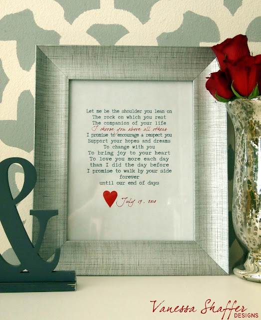 Typewriter Font I Printed It Out Cut Out A Heart And Framed It In Minutes I Had A Simple Yet Sentimental Piece Of Art A Perfect Gift For The One You