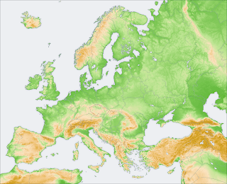 topography map of Europe
