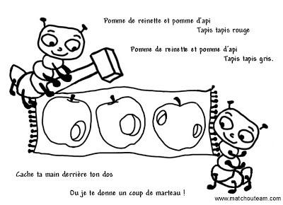 comptine illustré pomme de reinette