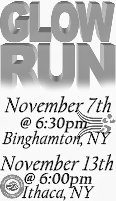 Glow Run Binghamton, NY Nov 7th 6:30 and Ithaca NY Nov 13th 6:00pm, Free, National Running Safety Awareness Month