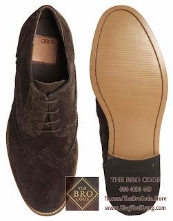 Giày ASOS Wingtip Da Lộn Màu Nâu | ASOS Derby Full Brogue Suede Shoes