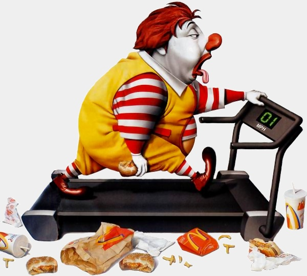 Obese Ronald McDonald working out on treadmill