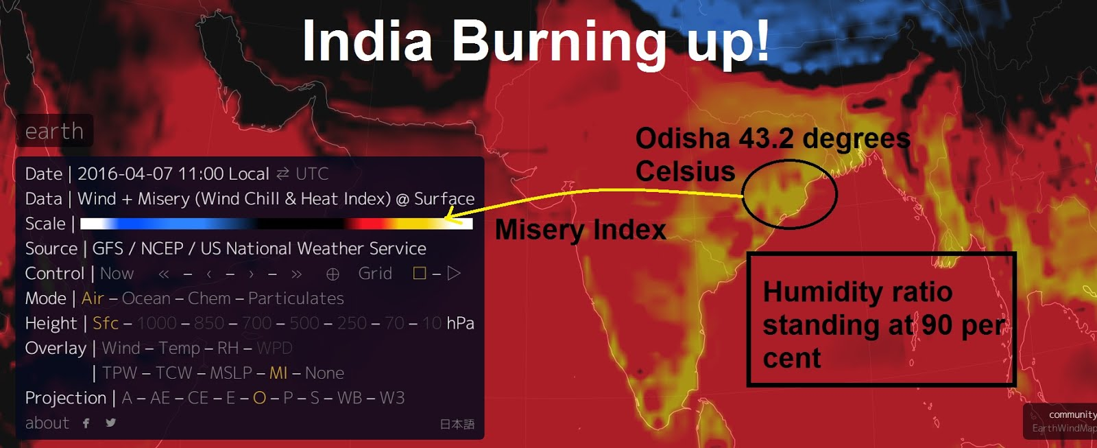 India burning! Unbearable heat due to the 90% humidity factor as temperatures hit 43.2 degrees Cels