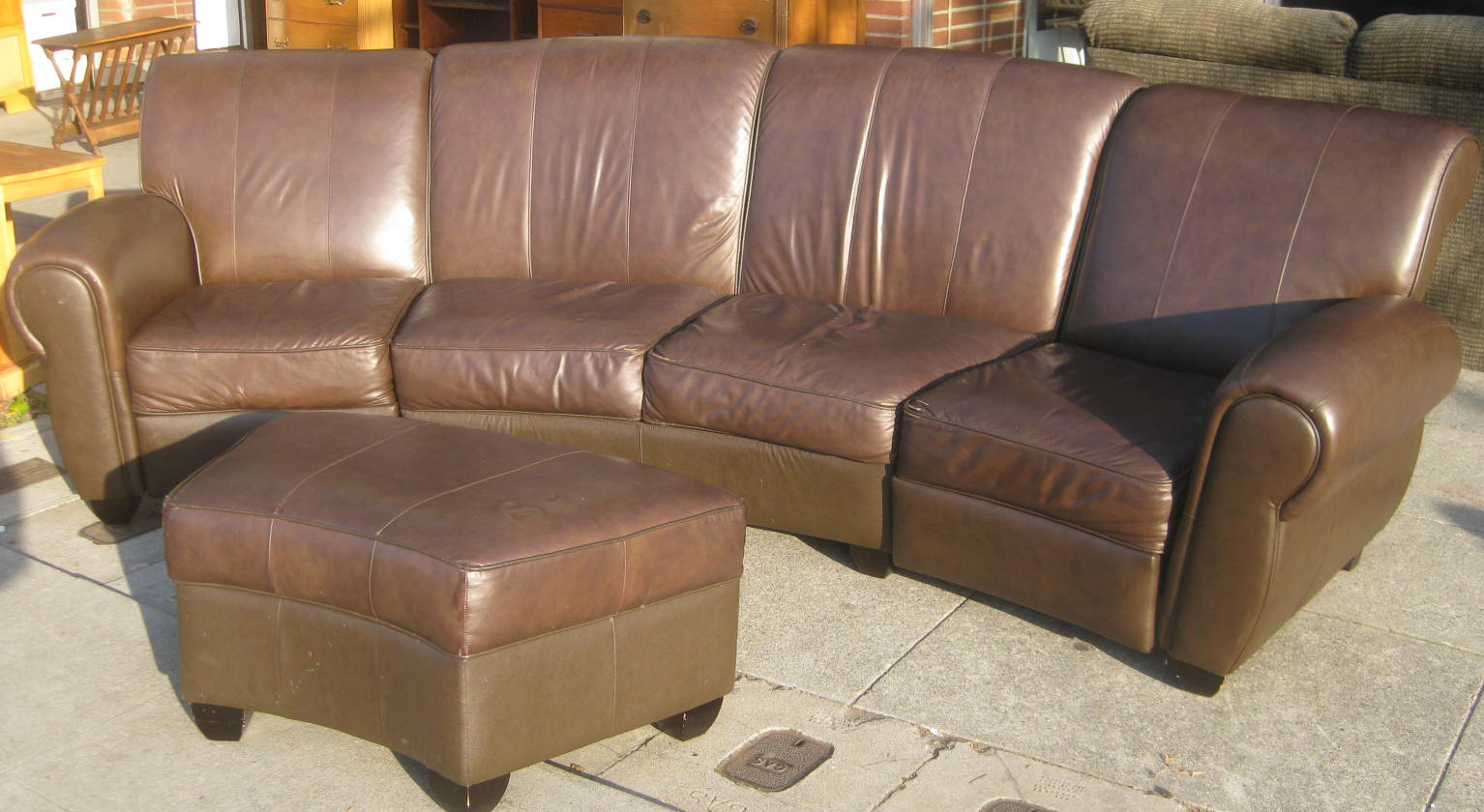 Uhuru Furniture Collectibles Sold Deliciously Curved Leather Sofa Ottoman 350